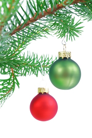 Baubles on Christmas tree isolated on white photo