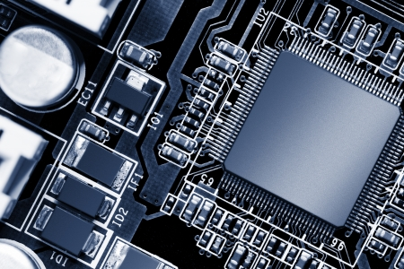 pcb: Electronic circuit chip on PCB board Stock Photo