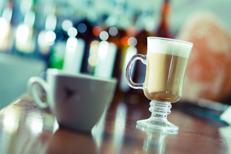 cafe latte: latte coffee in a bar Stock Photo