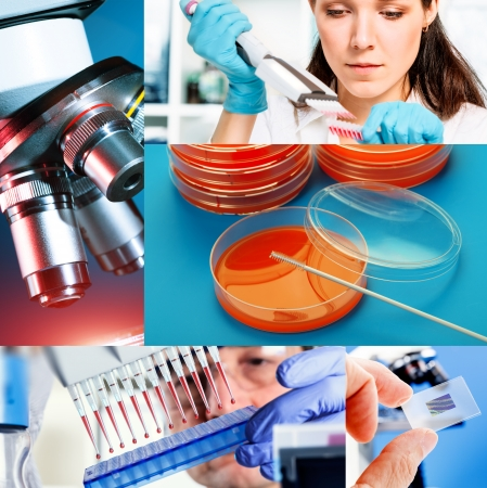 laboratory research: Collage of collection of medical and chemical research