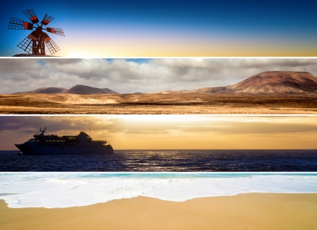 set of banners with sea mountains and deserts, travel photo