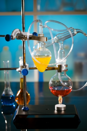 burner: flame and the flask in a chemical laboratory