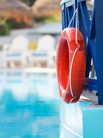 lifebuoy in hotel pool photo