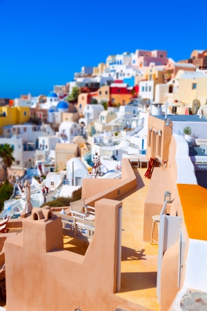 Oia on the island of Santorini Greece, colorful toy houses photo