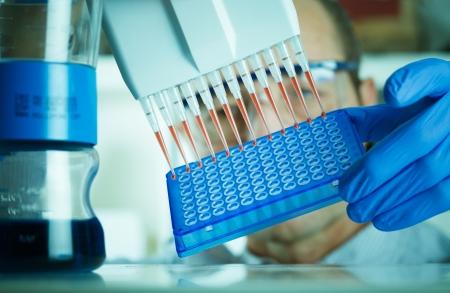 investigador genética hace que el análisis genético Foto de archivo