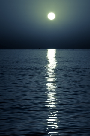 moonlit: reflection of the moon on the sea surface. moonlit path