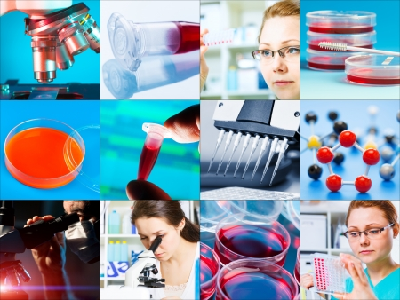 scientific design elements Collage - microbiology, genetics, scientists photo