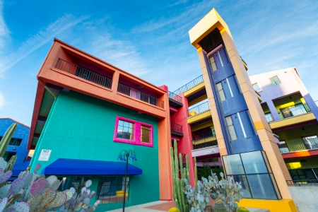 tuscon: SIETTLE - DECEMBER 01: Colorful buildings of La Placita Village Shopping Center in downtown Tucson, AZ, USA