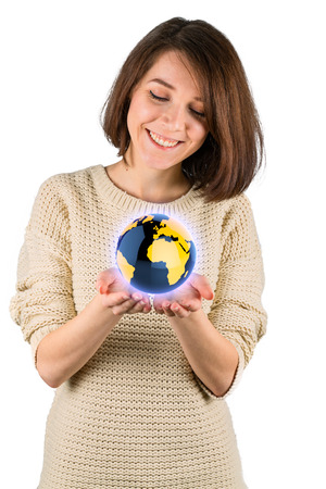 Girl with the globe in hands photo