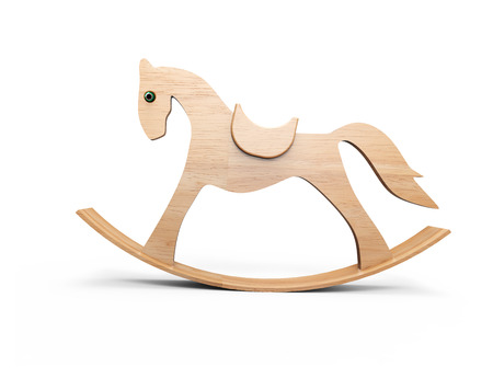 Green  horse toy on white background photo