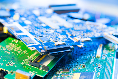 electronics parts: Old computer boards for recycling Stock Photo