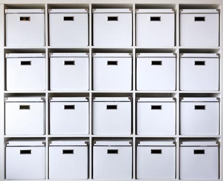 storage box: cardboard boxes on shelves