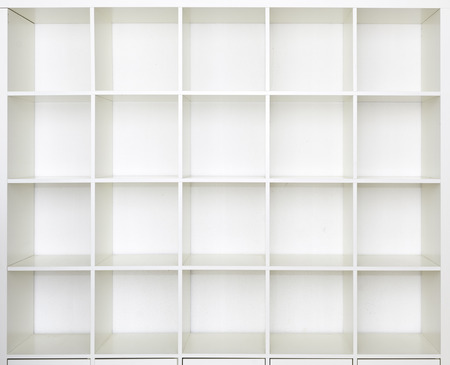 Empty shelves, blank Bookcase library photo