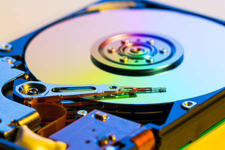 hdd: Open hdd device close up Stock Photo