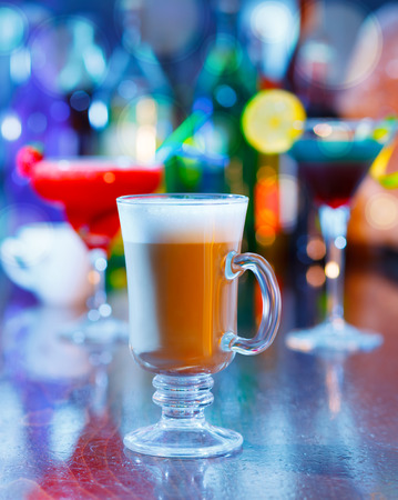 irish coffee on bar interior photo
