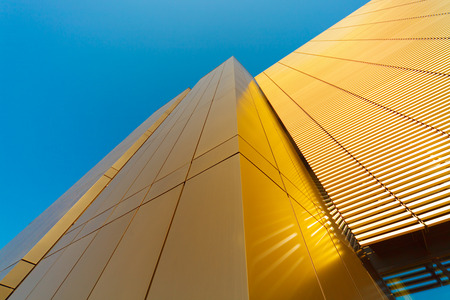institute of technology: Modern business building against sky, abstract high-tech illustration