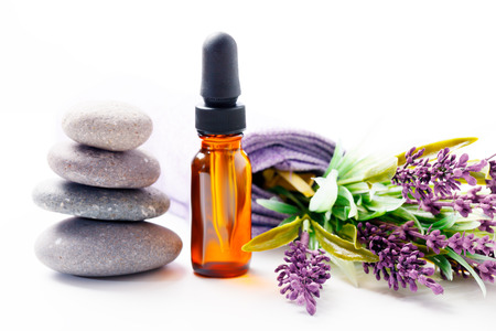 aromatherapy oils: lavender oil and flowers