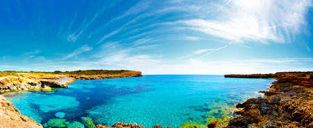 Panorama of the bay with rocky shores, Mallorca, Spain