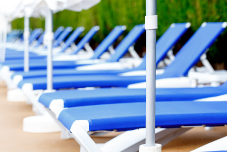 sunbeds: sunbeds around the pool at the hotel