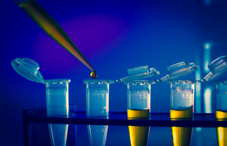 immunological: immunological research in the laboratory, test tubes and pipette Stock Photo