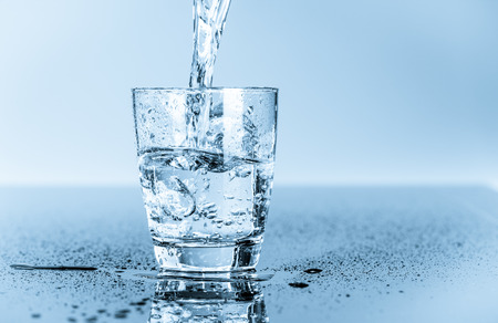 minerals food: glass of clean drinking water