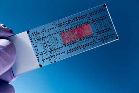 slide glass: Lab on chip (LOC) is  device that integrates  laboratory functions on  nano chip Stock Photo
