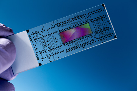 loc: Lab on chip (LOC) is  device that integrates  laboratory functions on  nano chip Stock Photo