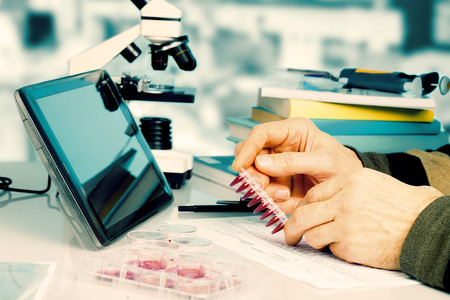 genetic research: Workplace in the laboratory of genetic research Stock Photo