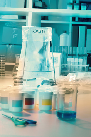 Wastebasket in the biochemical laboratory photo