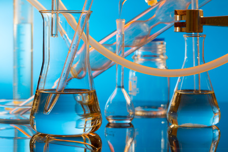 scientific equipment: chemical ware in the science lab laboratory Stock Photo