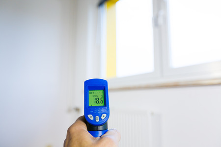heat home: heating control thermal isolation with thermal imager Stock Photo