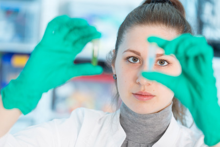 Young student woman medical  scientific researcher  doctor looking at a test tube of liquid in science laboratory photo