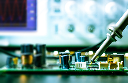 soldering: soldering of electronic circuit board