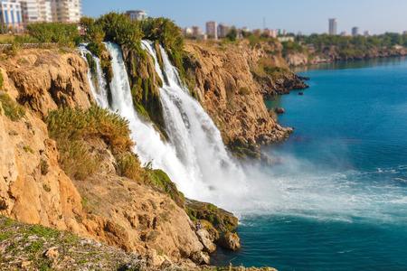 waterfall in the city: Waterfall Duden at Antalya, Turkey