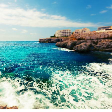 rocky coast and the sea on the island of Majorca, Spain photo