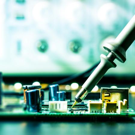 electronics equipment: soldering of electronic circuit board