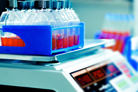 biochemical: Growing biological culture,  bottles  the laboratory shaker