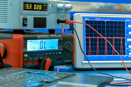 electronic measuring instruments in hitech computer laboratory photo