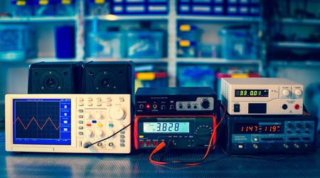 repair computer: measuring devices in the physical laboratory Stock Photo