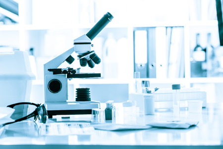 biology lab: microscope in medical laboratory Stock Photo
