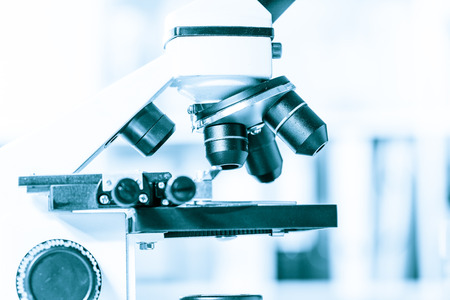 microscope in medical laboratory Stock Photo