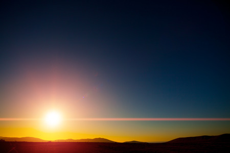 clear day: beautiful sunset with clear sky Stock Photo