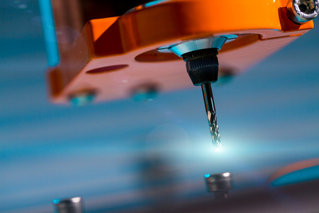 machine: Diamond milling cutter on CNC machine Stock Photo