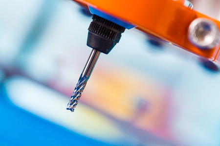 Diamond milling cutter on CNC machine Stock Photo