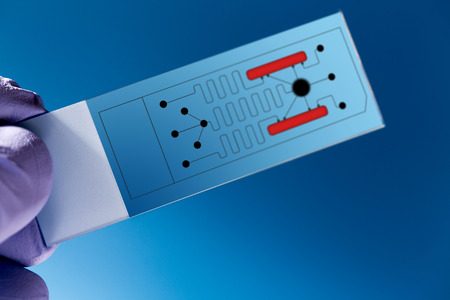 identifying: biochip for identifying proteins, Lab on Chip - systems all process for analysis of a sample are integrated into one glass plate