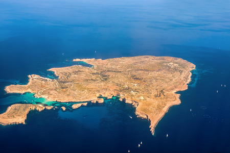 bird view: Comino Island aerial bird view Stock Photo