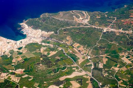 bird view: Comino Island aerial bird view Stock Photo