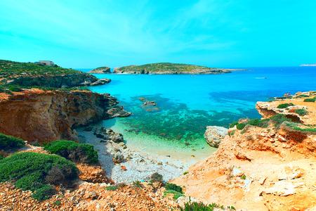 laguna blu nell'isola di Comino, Gozo, Malta Archivio Fotografico