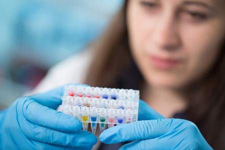 pcr: Young woman with PCR tubes in genetic laboratory