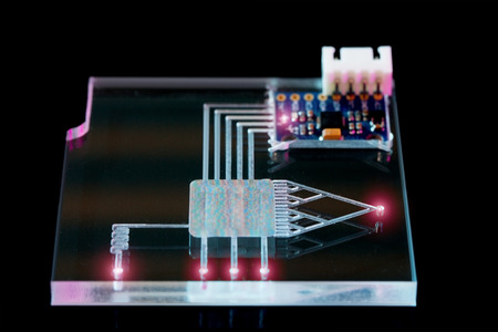 assays: A lab on chip is device integrates several laboratory processes in one device, mostly LOC based on glass plate